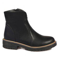 Vintage Faux Leather Ankle Boots - BLACK
