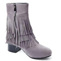 Side Zipper Fringe Ankle Boots