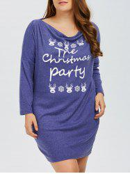 Plus Size Letter Elk Print Long Sleeve Christmas Mini Dress -