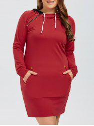 Full Sleeve Plus Size Hoodie Mini Dress