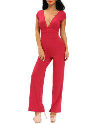 Skinny Plunging Neckline Backless Jumpsuit