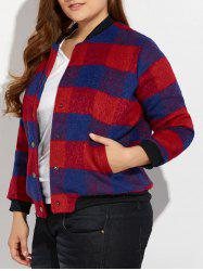 Snap Button Plus Size Plaid Woolen Jacket - RED