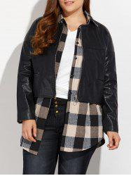 Zipped Plus Size Faux Leather Jacket - BLACK