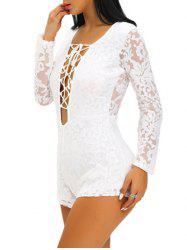 Zipper Lace Up See-Through Romper