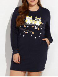 Cartoon Animal Print Long Sleeve Plus Size Dress - ROYAL 4XL