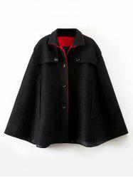 Buttoned Wool Cape Coat - BLACK