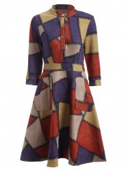 Checked Print Fit and Flare Work Dress