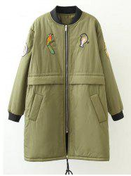 Plus Size Bird Letter Patched Bomber Coat -