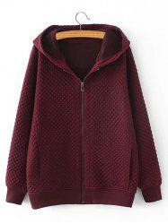 Plus Size Diamond Pattern Padded Hooded Coat