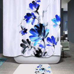 Ink Painting Floral Waterproof Polyester Bath Shower Curtain - WHITE
