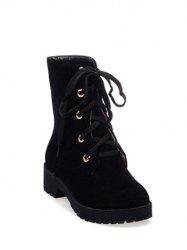 Platform Dark Color Tie Up Ankle Boots