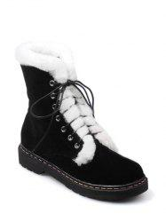 Tie Up Faux Fur Stitching Short Boots