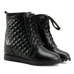 Quilted Argyle Pattern Tie Up Ankle Boots - BLACK 39