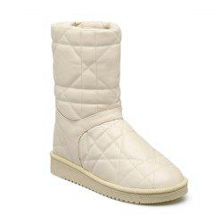 Flat Heel Stitching PU Leather Snow Boots