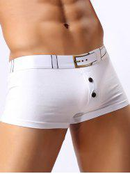 Belt Printed Button Design Funny Boxer Briefs