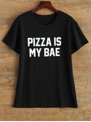 Streetwear Jewel Neck Pizza Is My Bae T Shirt - BLACK M