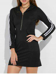 Hooded Half Zip Casual Dress