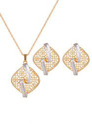 Rhombus Hollow Out S Shape Jewelry Set -