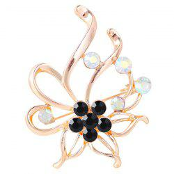 Rhinestone Hollow Out Floral Brooch -