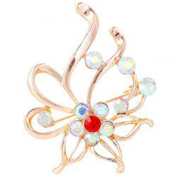 Broche Floral Out creux strass - Rouge
