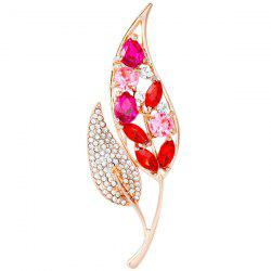 Rhinestone Leaf Faux Gem Brooch - RED