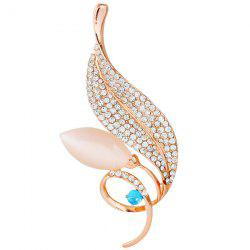 Leaf Faux Opal Rhinestone Brooch - GOLDEN