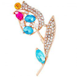 Rhinestone Rose Leaf Faux Gem Brooch - BLUE
