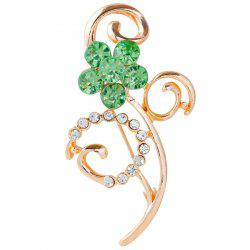 Rhinestone Faux Gem Hollow Out Brooch - GREEN