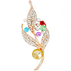 Leaf Rhinestone Brooch - GOLDEN