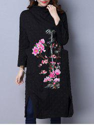 Embroidery Long Sleeves Shift Dress