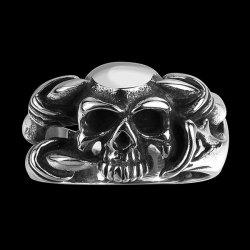 Alloy Devil Skull Biker Ring - SILVER