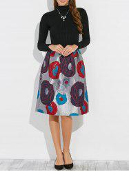 Panel Floral Embroidery Long Sleeve Dress - BLACK XL