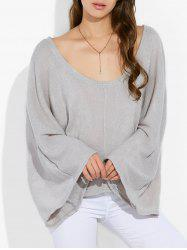 Scoop Neck lâche Tricots - Gris Clair