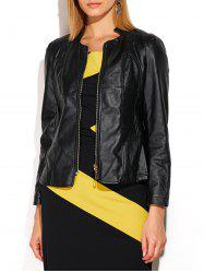Faux Leather Short Cropped Jacket - BLACK 3XL