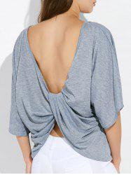 Dolman Sleeve Twist Open Back T Shirt