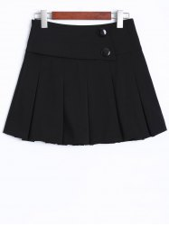 Buttons Embellished Mini Pleated Skirt -