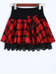 Lace Insert Bowknot Tartan Mini Skirt -