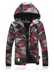 Plus Size Hooded Camouflage Zip Up Jacket