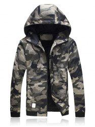 Plus Size Hooded Camouflage Zip Up Jacket - GREEN