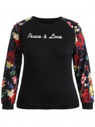 Peace Lace Patterned Plus Size Sweatshirt -