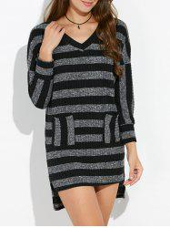 V Neck High Low Striped Jumper Dress
