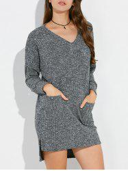 V Neck High Low Mini Tunic Jumper Dress
