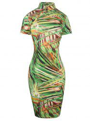 Knee Length Zipper Striped Print Qipao - GREEN 2XL