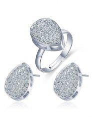 Rhinestone Teardrop Earrings and Ring