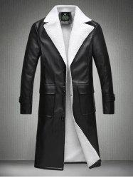Plus Size Turndown Collar Lengthen Flocking PU Leather Coat - BLACK