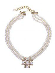Multilayered Artificial Pearl Beaded Necklace -
