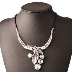 Artificial Gem Leather Rope Necklace -