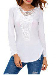 Long Sleeve Lace Splicing Crochet Blouse -