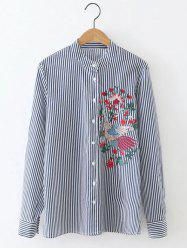 Long Sleeve Formal Striped Embroidered Shirt -