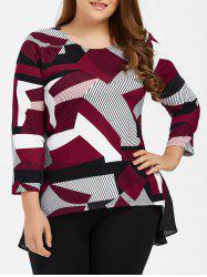 Plus Size Abstract Print High Low Tee